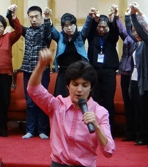 Leanna ministering in Korea